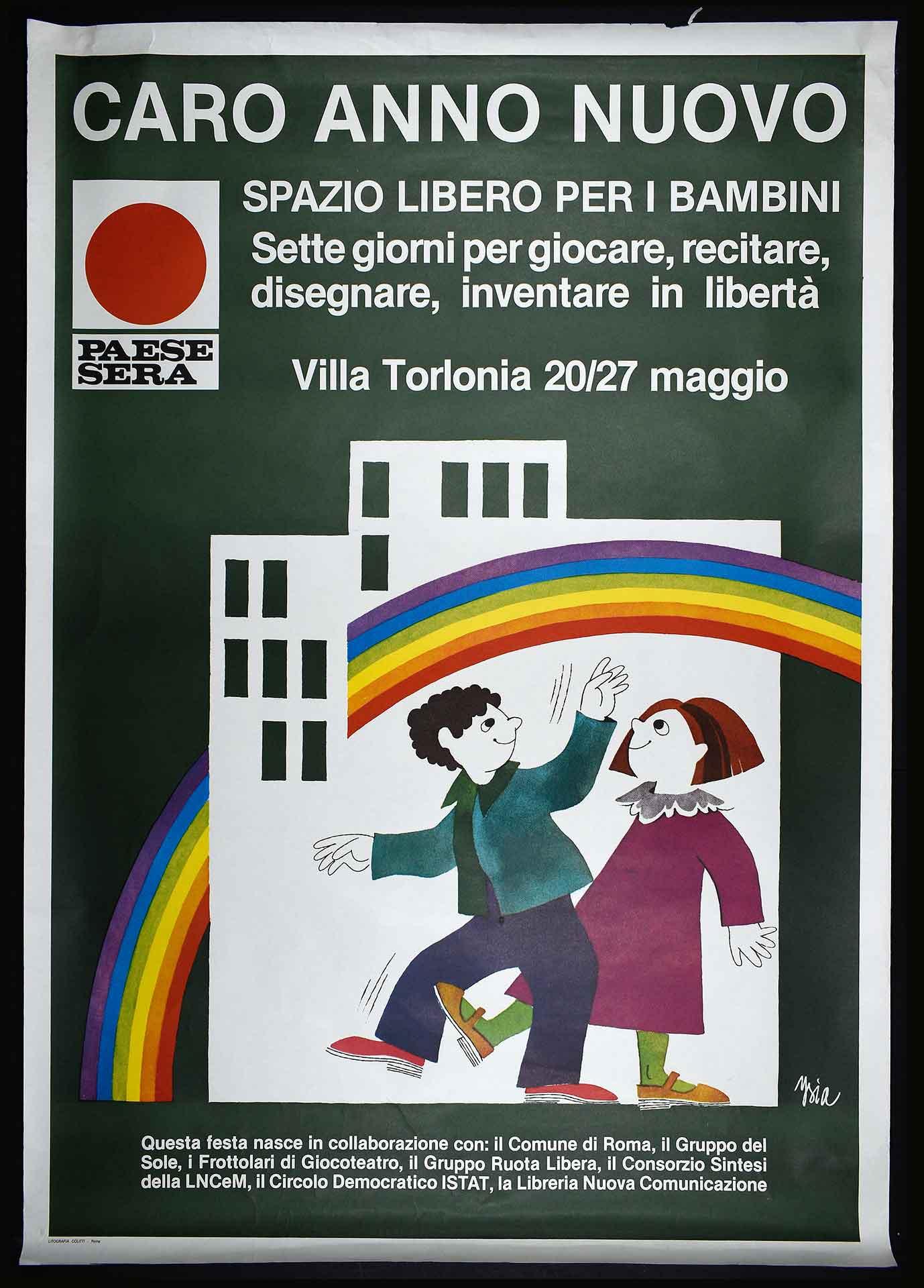 """1976-1980. Campagna di comunicazione del quotidiano romano """"Paese Sera"""". Stampa Litografia Colitti, Roma. Campagne sociali."""