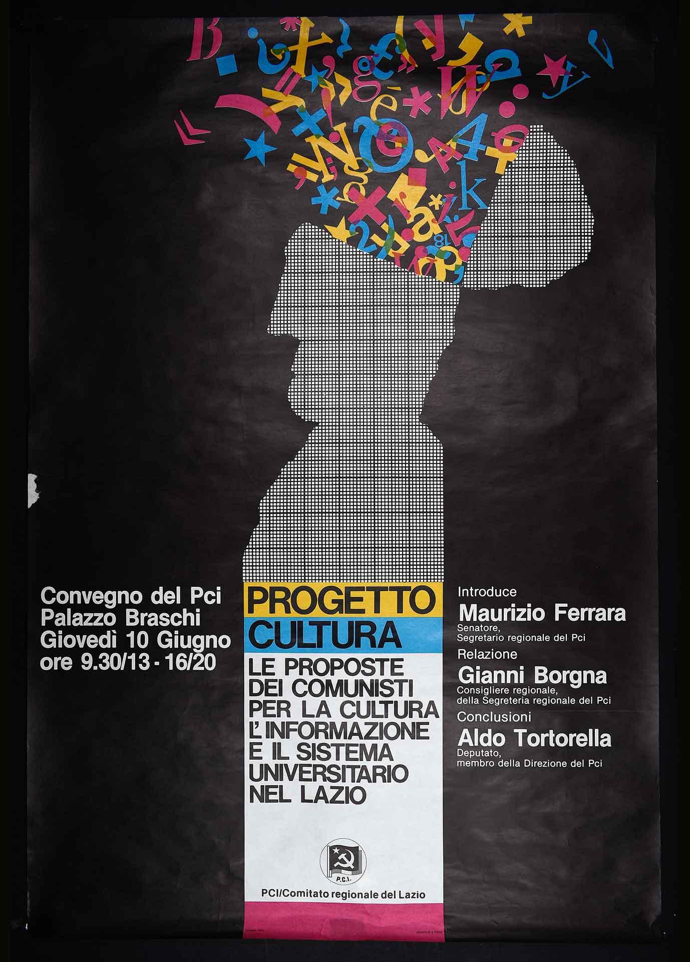 1983. Convegno del Comitato regionale del Lazio del Partito comunista italiano (PCI). Stampa Polistampa, Roma. Progetto di D. Turchi. Comunicazione di partito.