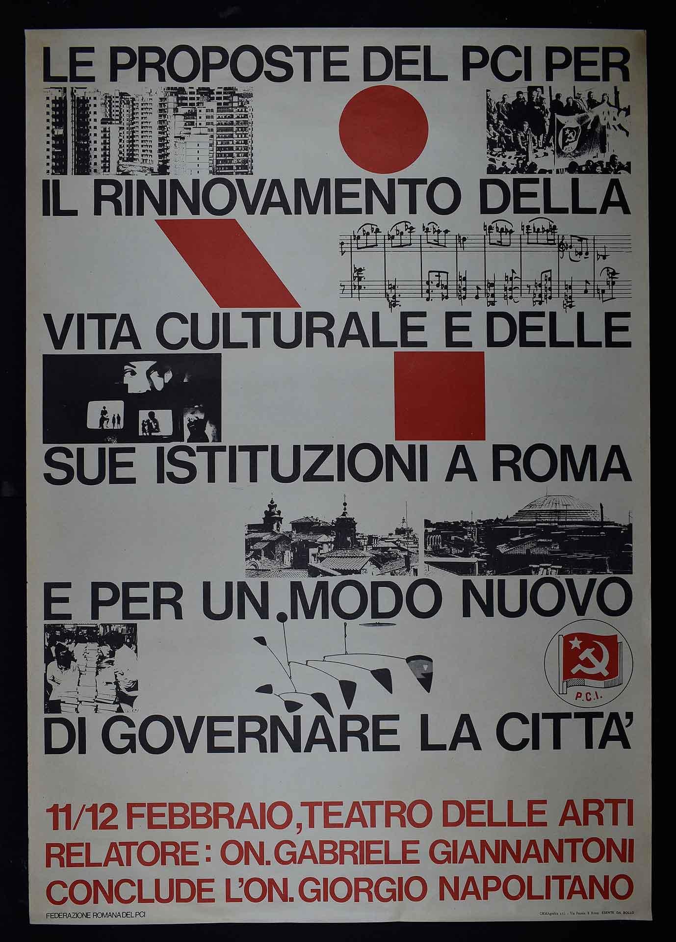 Federazione romana del Partito comunista italiano (PCI) per l'amministrazione della città. Stampa Ormagrafica, Roma. Comunicazione di partito.