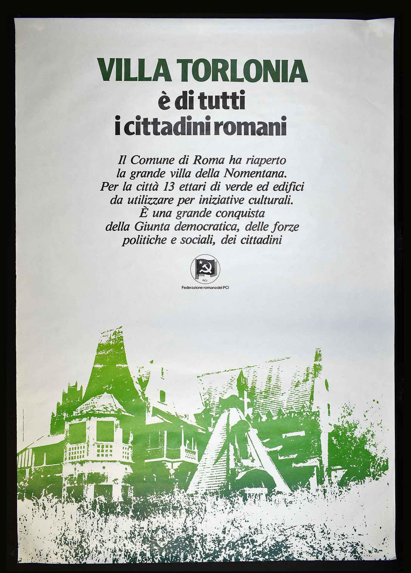 La Federazione romana del Partito comunista italiano (PCI) per la Giunta di sinistra. Stampa Polistampa, Roma. Progetto di D. Turchi. Comunicazione di partito.