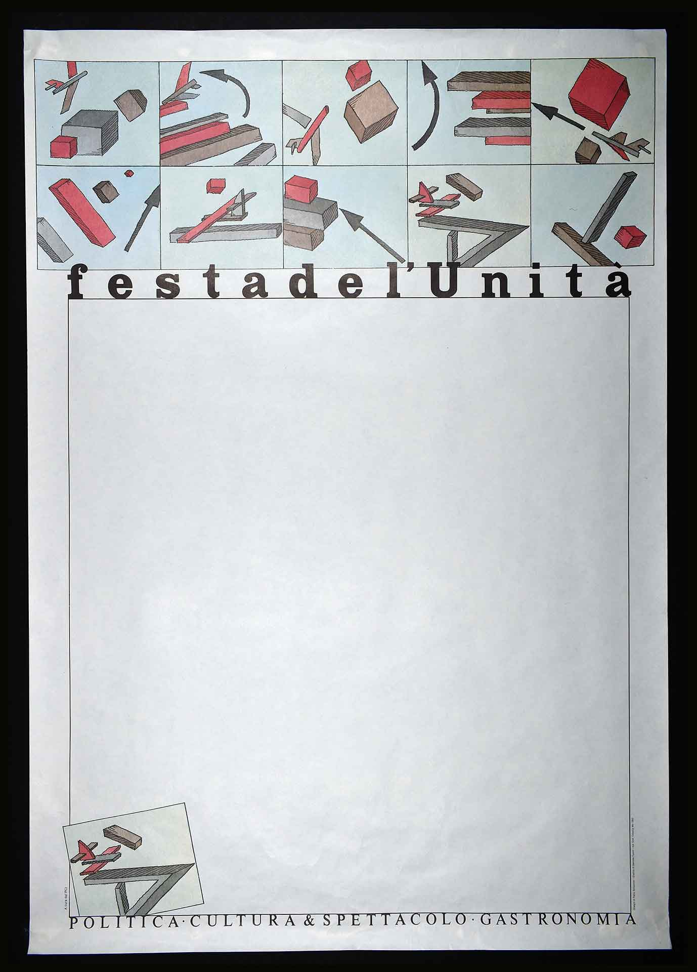Partito comunista italiano (PCI). Stampa Ind. Graf. Cooptip Mo, Roma. Grafica di D. Turchi. I disegni sono dell'artista italo-cileno Pablo Echaurren. Comunicazione di partito.
