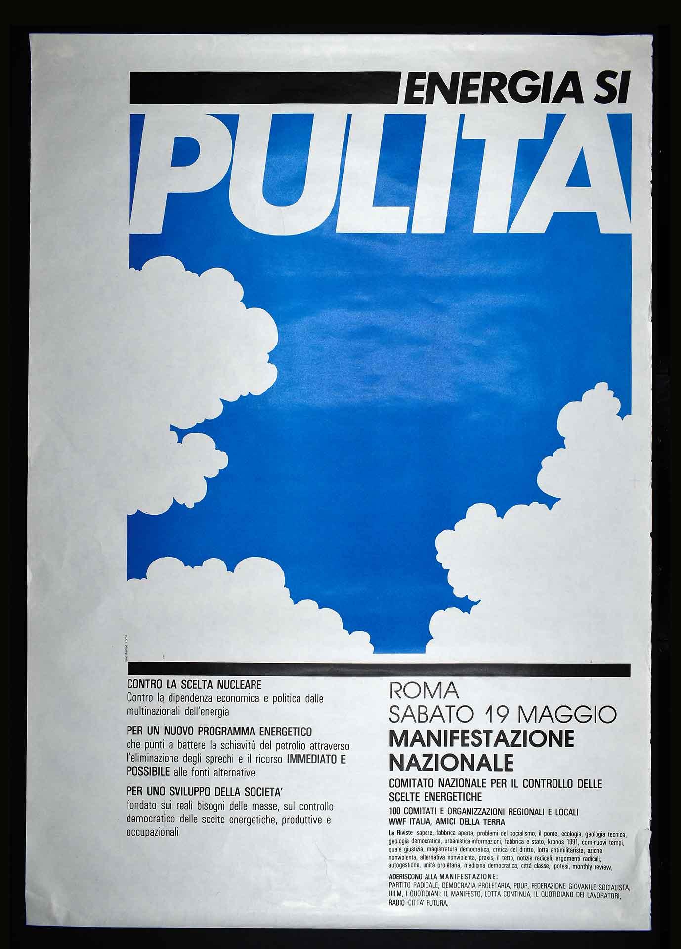 Comitato nazionale per il controllo delle scelte energetiche per la manifestazione nazionale a Roma del 19 maggio 1979. Stampa Selestampa, Roma. Movimento antinucleare.