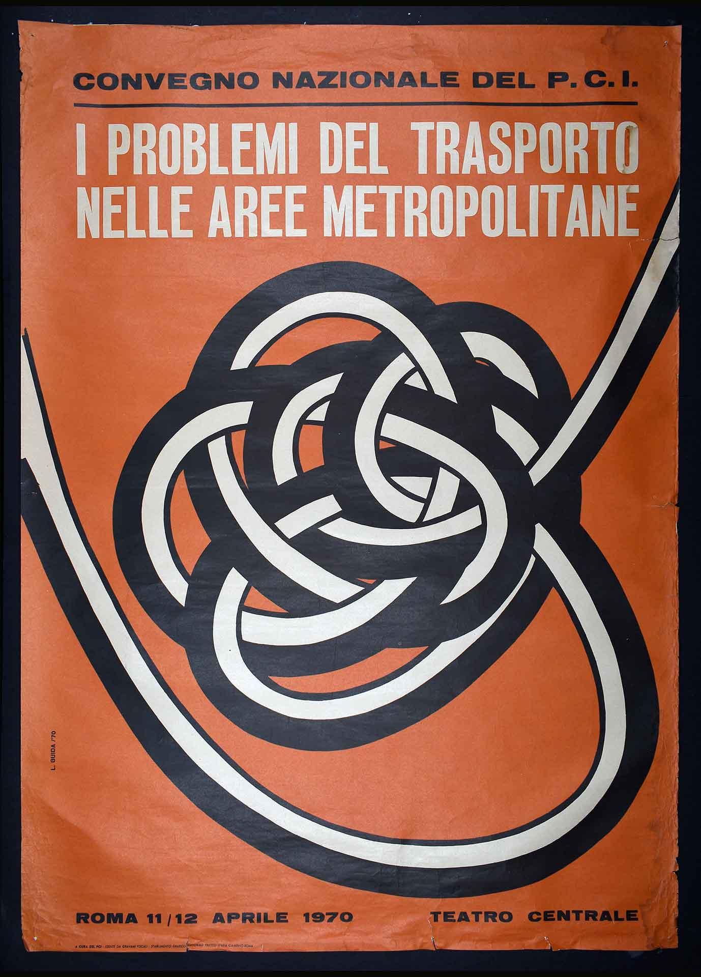 Il Partito comunista italiano (PCI) per un convegno sui trasporti. Stampa Fratelli Spada stabilimento grafico editoriale, Ciampino (Roma). Comunicazione di partito.