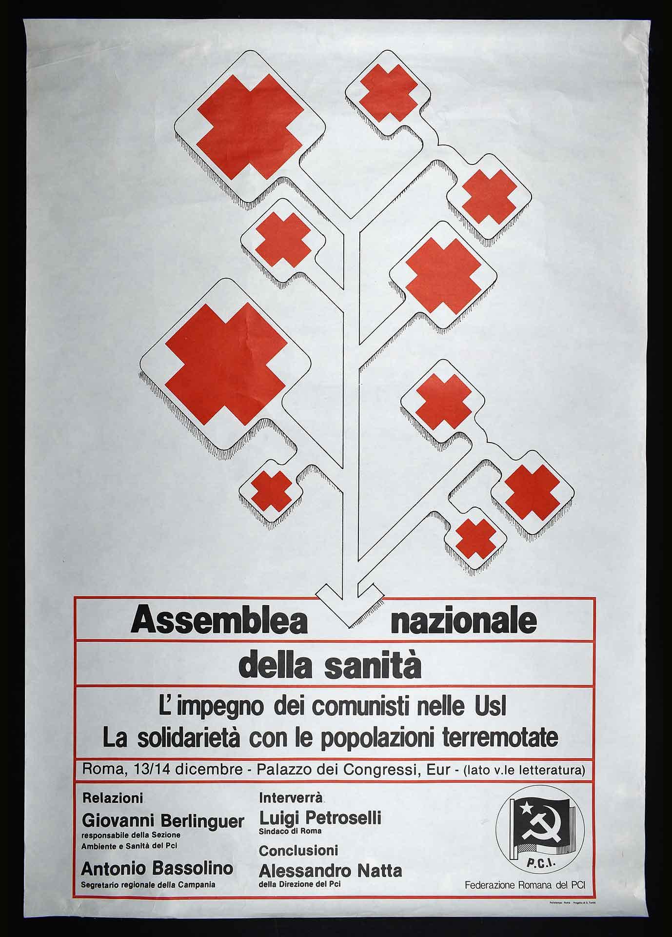 Federazione romana del Partito comunista italiano (PCI) per la sanità pubblica. Stampa Polistampa, Roma. Progetto di D. Turchi. Comunicazione di partito.