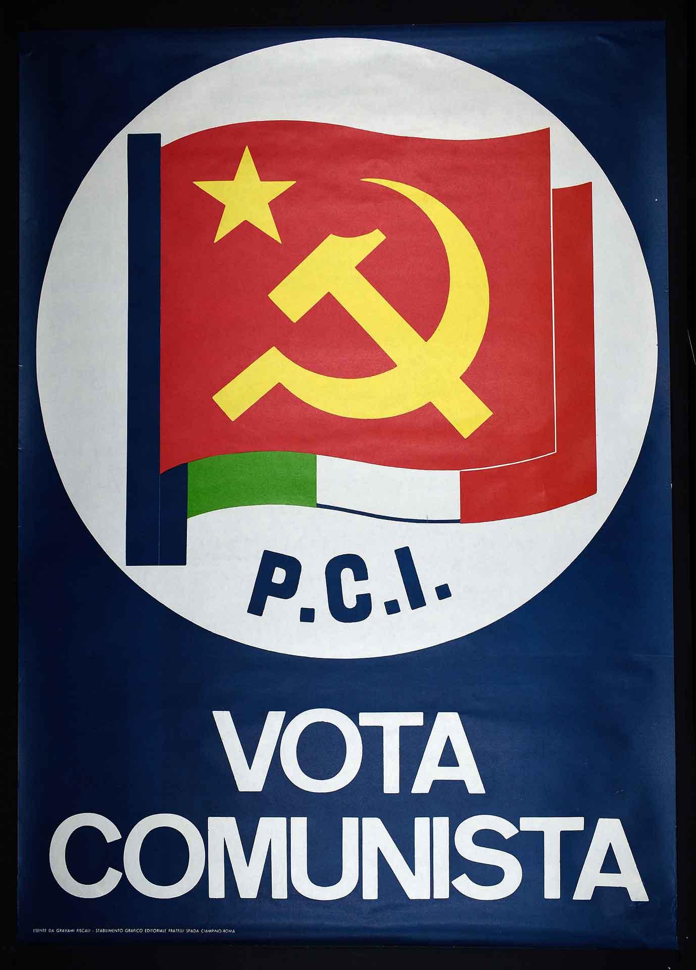 Partito comunista italiano (PCI). Stampa Fratelli Spada stabilimento grafico editoriale, Ciampino (Roma). Campagna elettorale.