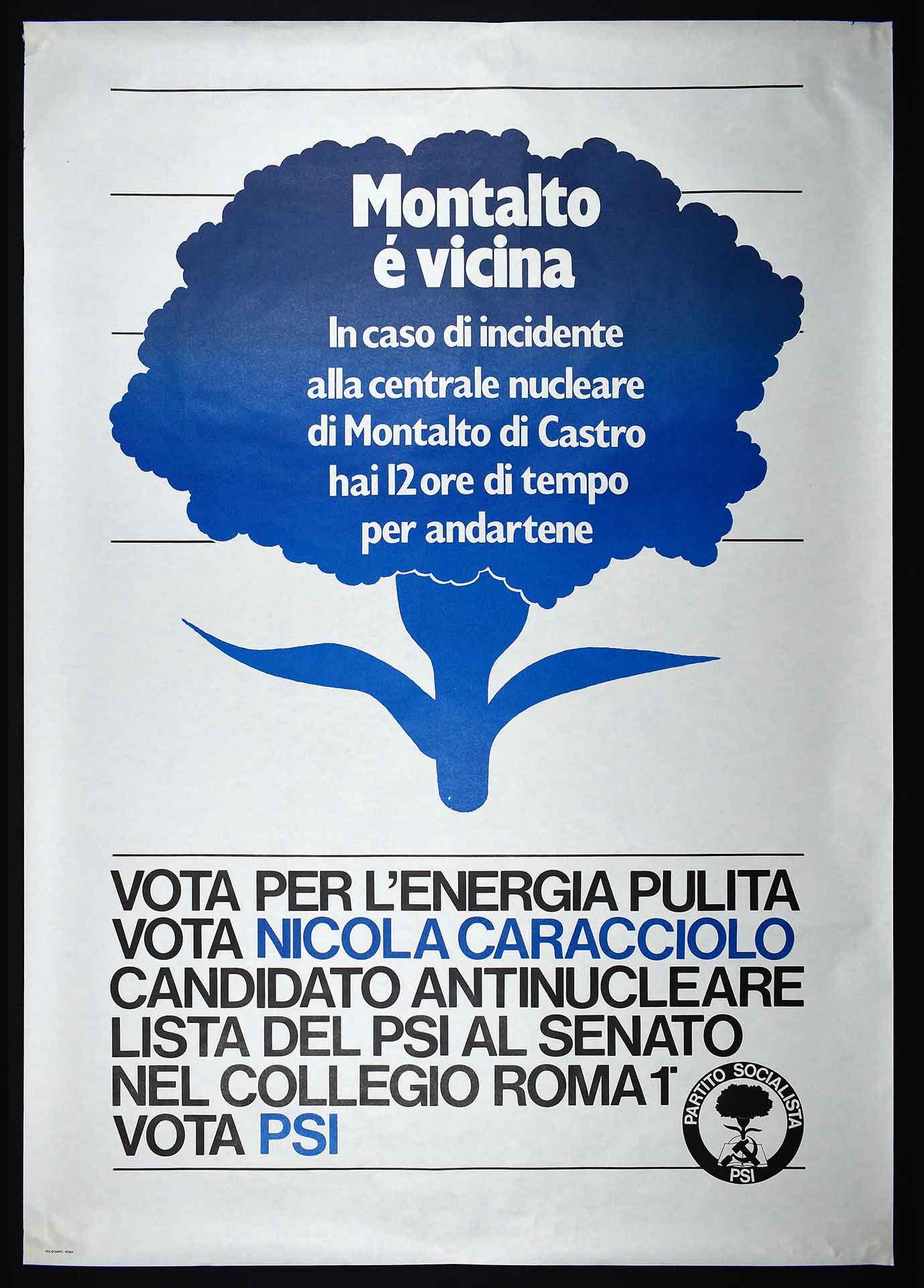 Nicola Caracciolo candidato antinucleare nella lista del Partito socialista italiano (PSI) al Senato. Stampa Polistampa, Roma. Campagna elettorale.