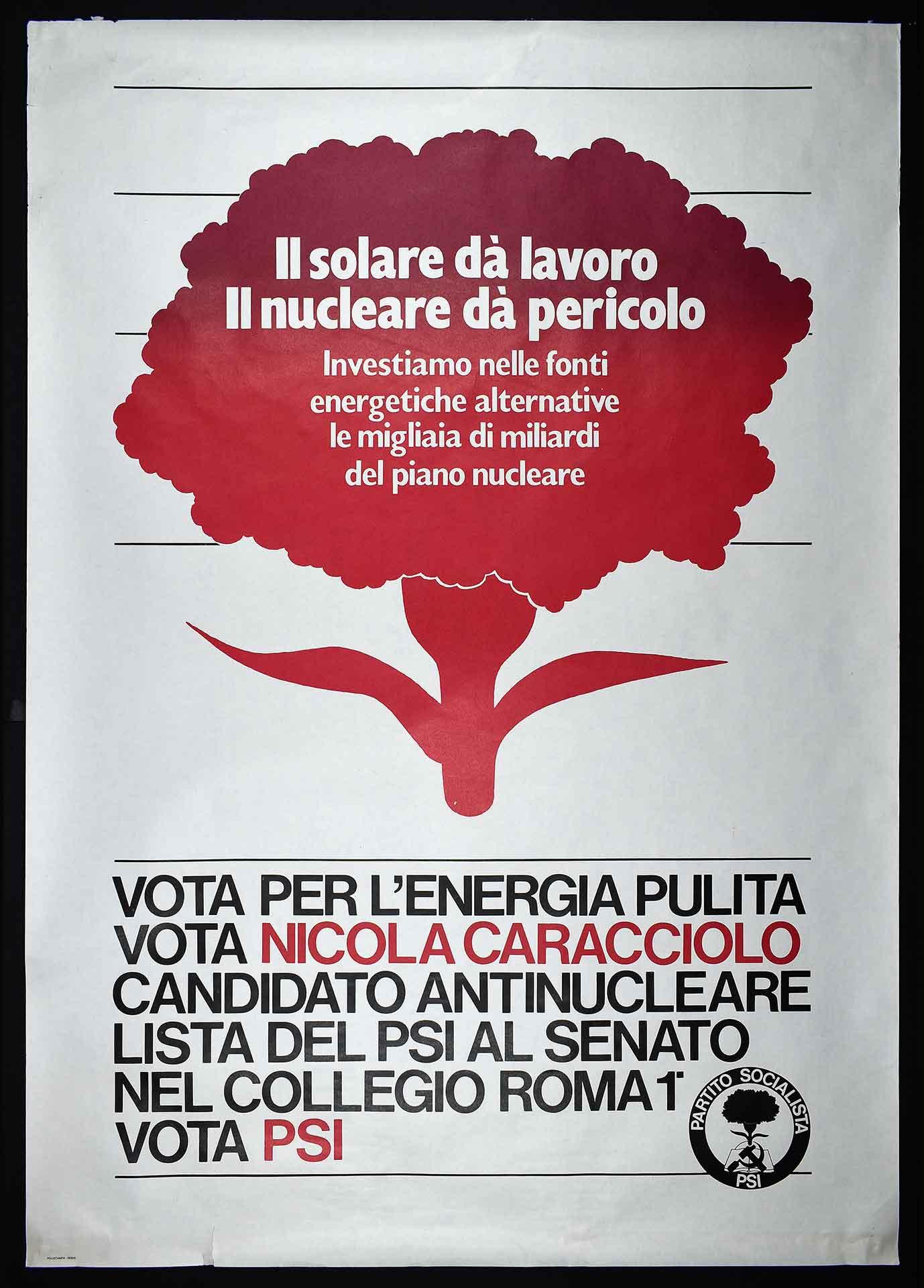 Nicola Caracciolo candidato antinucleare nella lista del PSI al Senato. Polistampa, Roma. Comunicazione elettorale.