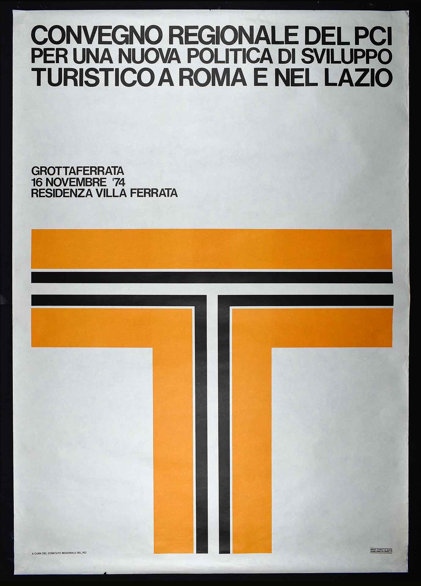 Comitato regionale del Partito comunista italiano (PCI). Stampa Fraire, Roma. Design di Alfredo de Santis. Comunicazione di partito.